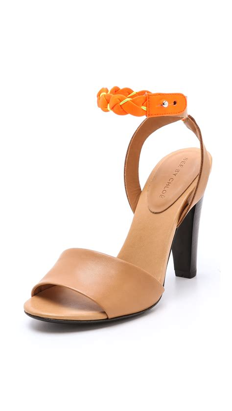 see by sandals see by chlo 233 high heel sandals with braided ankle in
