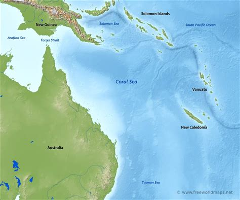 coral sea map coral sea map by freeworldmaps net