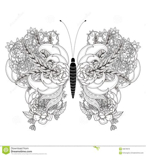 Elegant Butterfly Coloring Page Stock Illustration