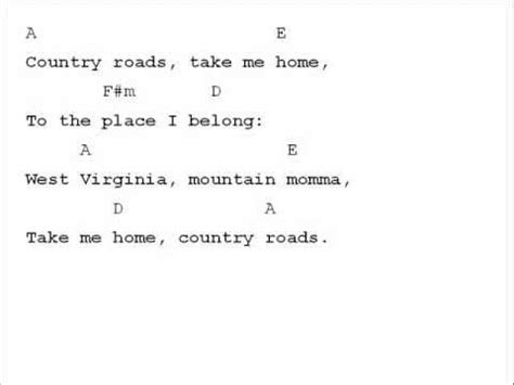 country road testo denver country roads chord chart