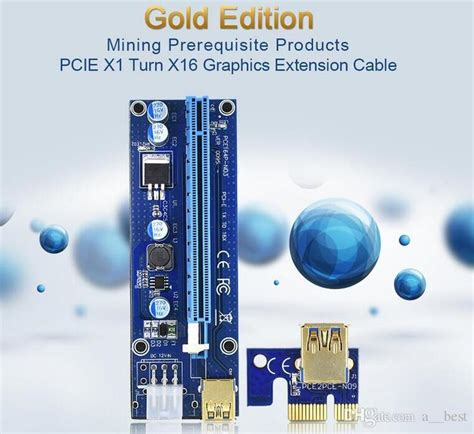 Terbaru Pci Riser Ver 009s 2018 Gold Led Mining Garansi ver 008c 009s vbitcoin ver008c with led ver009s gold plated miner riser pci e express 1x to 16x