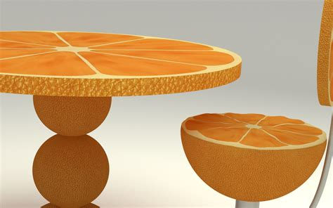 Orange Kitchen Table Orange Kitchen Table 3d Model Max Obj Fbx C4d Ma Mb Blend Cgtrader