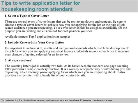 application letter for attendant housekeeping room attendant application letter