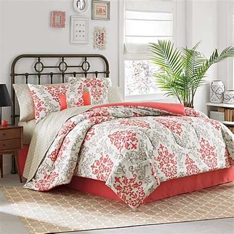 bed bath comforters bedding sets carina 6 8 piece complete comforter set in coral bed