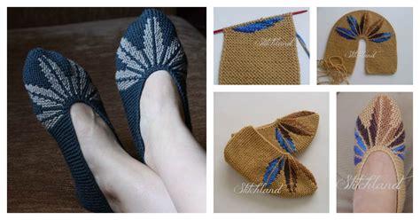 knitting pattern leaf motif leaf motif slippers free knitting pattern