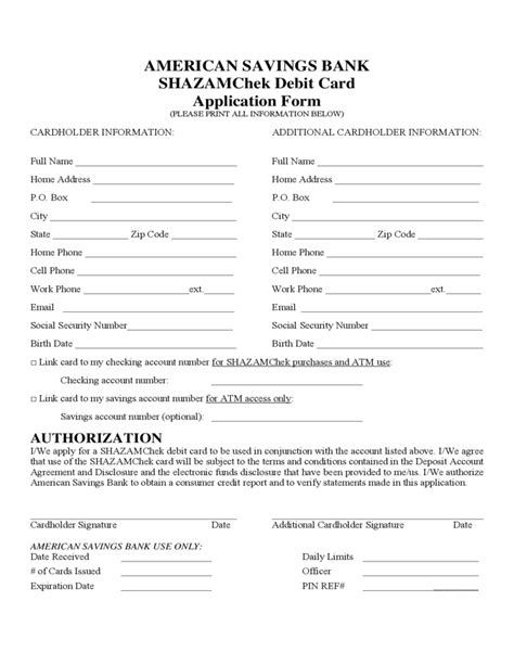 Debit Card Application Form America Free Download Atm Contract Template