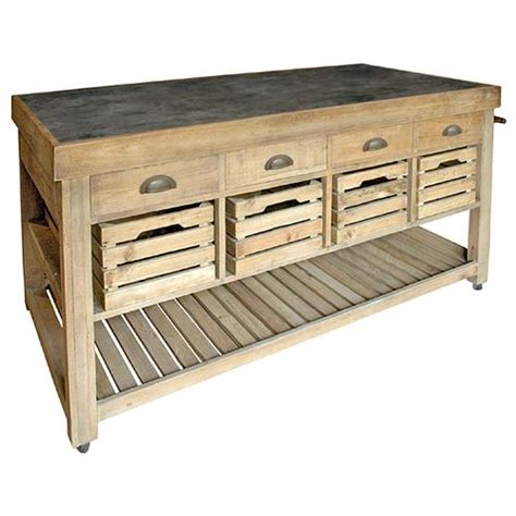 bluestone reclaimed wood large kitchen island crate and marat french country reclaimed pine blue stone 4 crate