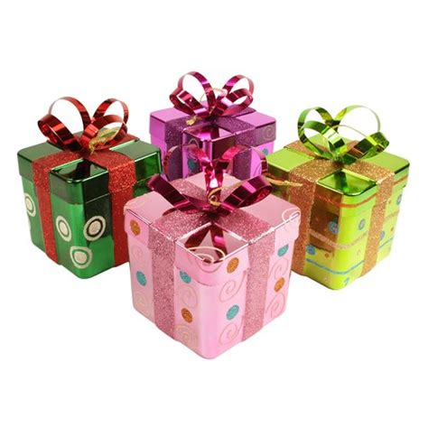 4 candy fantasy gift box shatterproof christmas ornament