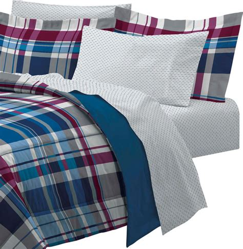 plaid twin bedding varsity plaid twin bedding set 5 piece blue stripe bed