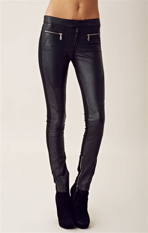 biker pants shakuhachi leather pants in black lyst