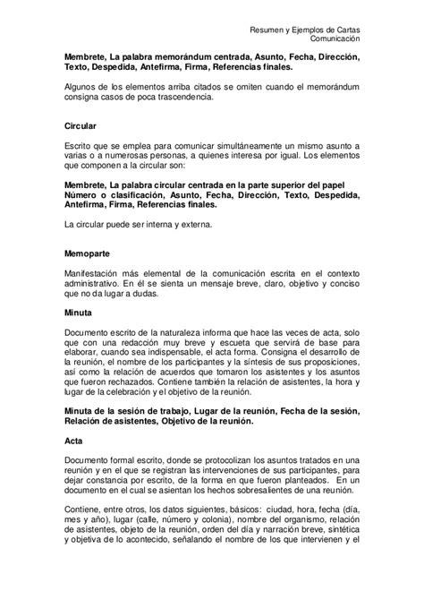 carta formal breve resumen comunicacion escrita