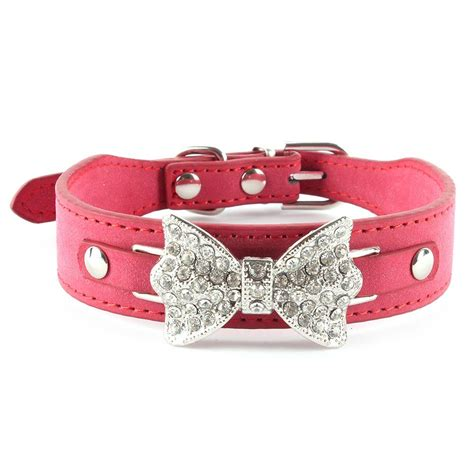 girly collars small bling girly collar bow leather pet collar puppy u18 ebay