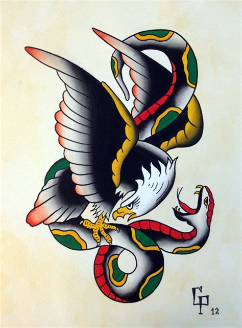 traditional tattoo eagle and snake traditional eagle and snake tattoo flash by christinaplatis
