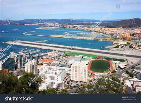 Gibraltar Address Finder Gibraltar City And Airport Runway And La Linea De La Concepcion In Spain Stock Photo