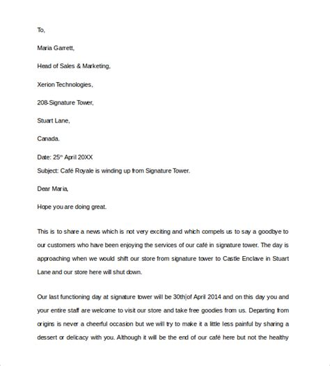 Sle Letter For Closing Business Permit Sle Closing Business Letter 7 Documents In Pdf Word