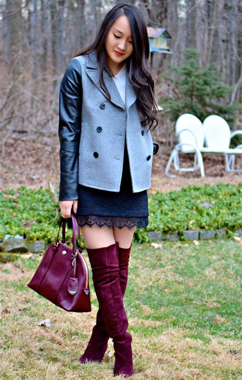 knee length high boots with skirt dressing for trendy