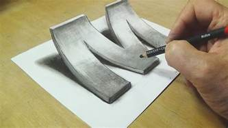 How To Make 3d Letters With Paper - how to draw 3d letter m drawing with pencil trick