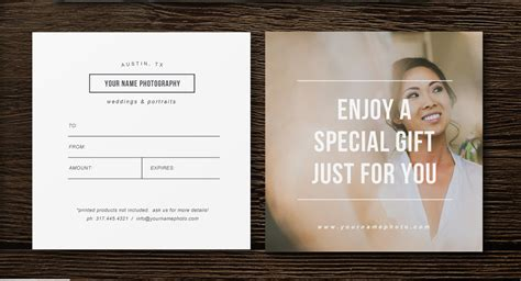 gift certificate template for photographers sale gift card template professional photography templates
