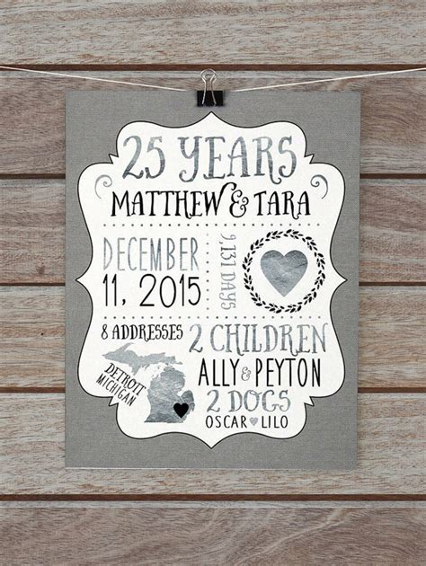 Wedding Anniversary Gift Ideas Husband by 25 Year Anniversary Gift Silver Wedding Anniversary