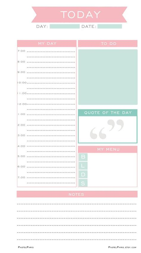 printable daily planner inserts daily planner insert printable personal pastelparis