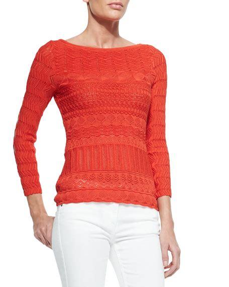Sleeve Cutout Knit Top roberto cavalli cutout sleeve zigzag knit top tulip
