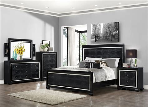aria  piece bedroom suite  black finish  crown mark