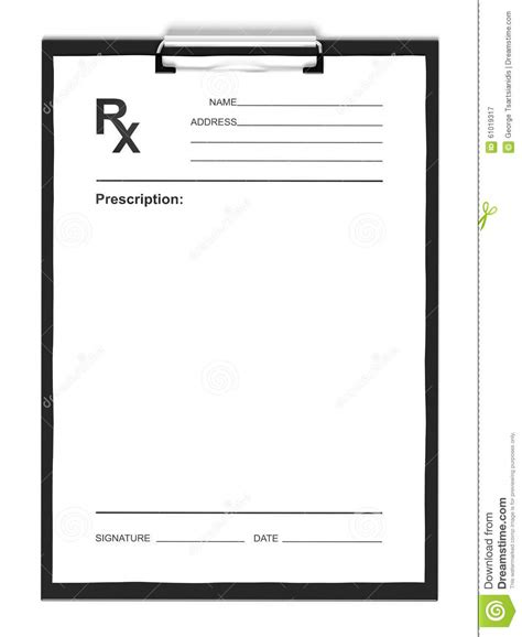blank prescription form stock illustration image of