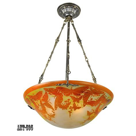 Butterfly Ceiling Light Rewired Vintage Ceiling Bowl Chandelier Cameo Glass Butterfly Light Ant 595 For Sale