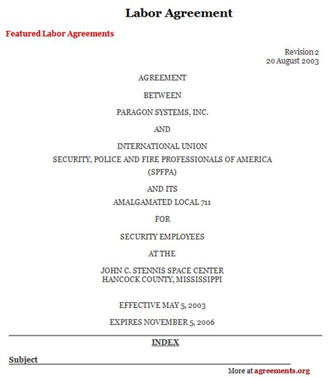 labour contract template labor agreement sle labor agreement template