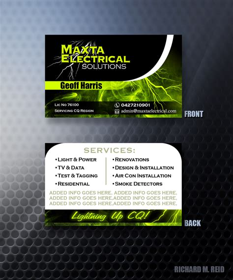 Business Cards Electrical Templates Free by Business Business Card Design For Maxta Electrical