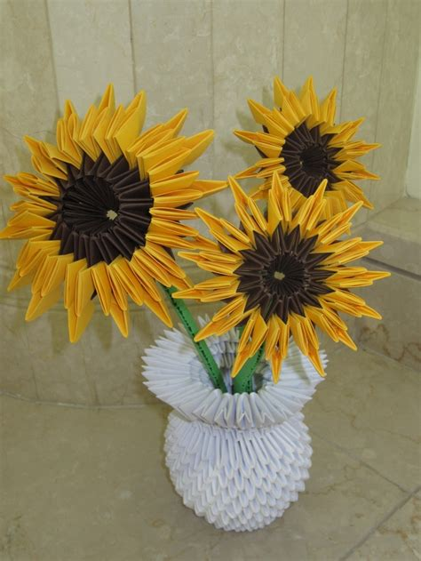 How To Make Sunflower With Paper - s 3d origami sunflowers origami paper