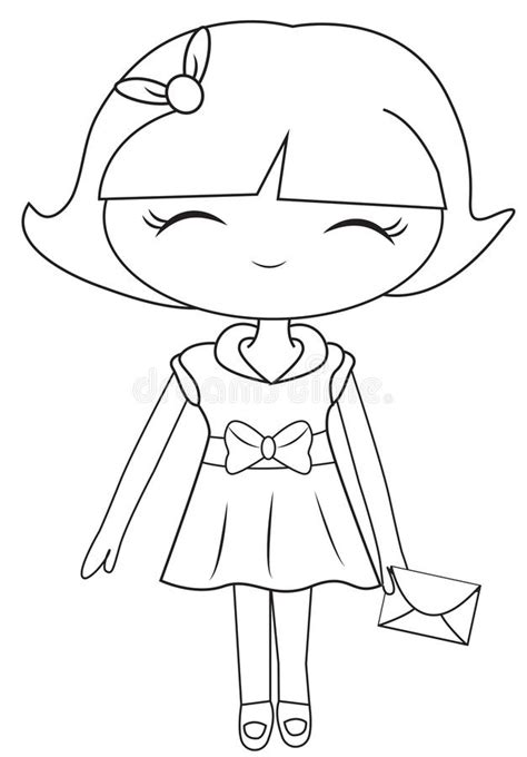 free coloring books by mail in a dress with a mail coloring page stock