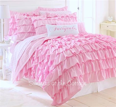 ruffled bed comforters perfectly pink dreamy ruffles comforter set french cottage