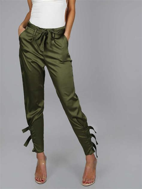 shop satin jogger pants  buckle olive  shein