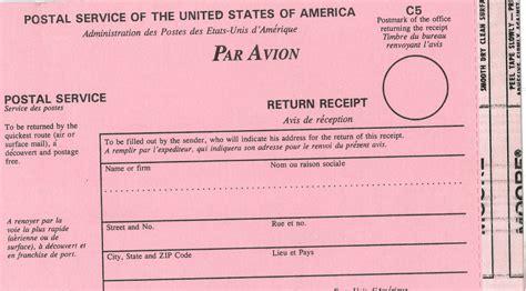 return receipt template ucr mail services international return receipt ps form 2865