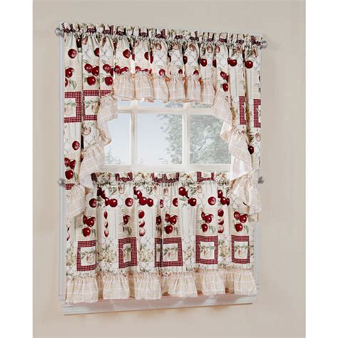 smith printed apple motif kitchen valance walmart