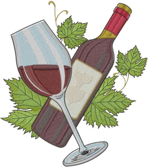 embroidery design wine glass foods embroidery design wine bottle and glass from