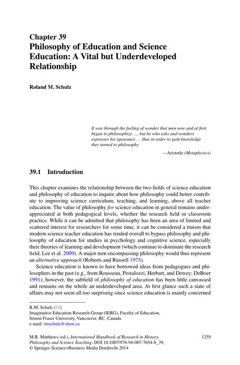 (PDF) Philosophy of Education and Science Education: A