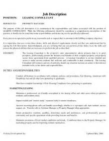 Leasing Specialist Sle Resume by Leasing Resume Getessay Biz