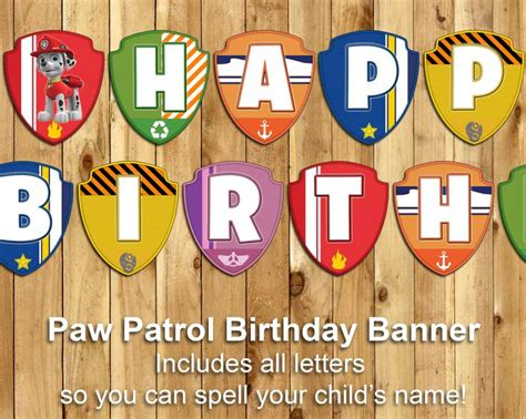 Bunting Flag Happy Birthday Banner Hbd Karakter Paw Patrol paw patrol birthday banner paw patrol banner print customizable paw patrol happy