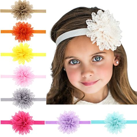 baby big flower headbands hair band hairnet baby flower pearl infant toddler headband