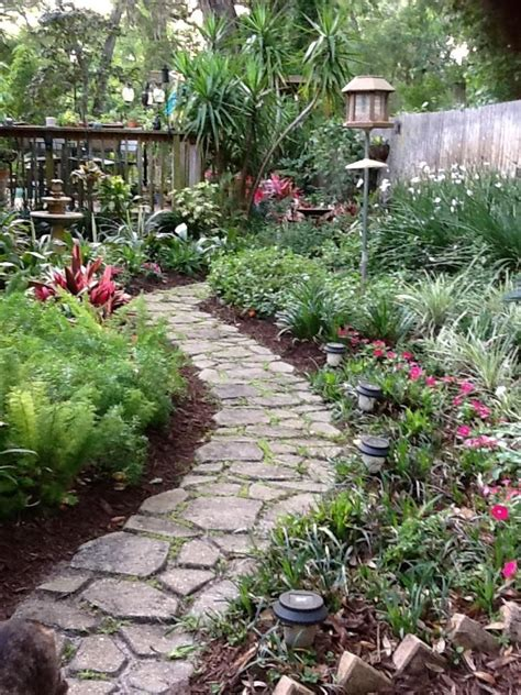 backyard pathway ideas concrete garden path gardens happy and walkways