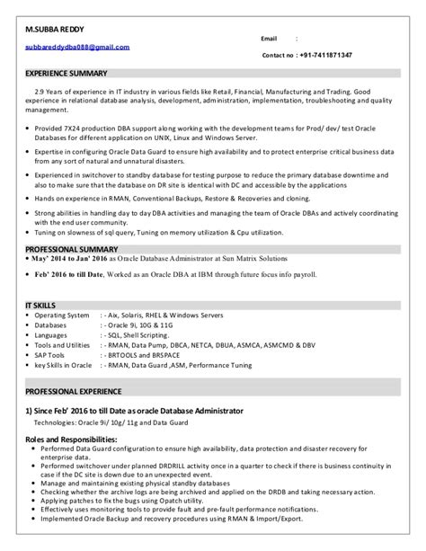 database administrator resume sle dba sle resume 28 images sql dba resume sle 28 images