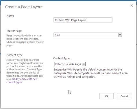 layout manager wiki create a new wiki page content type in sharepoint 2013