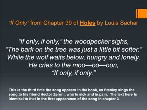 if only for one books providing a tune for quot if only quot from holes by louis