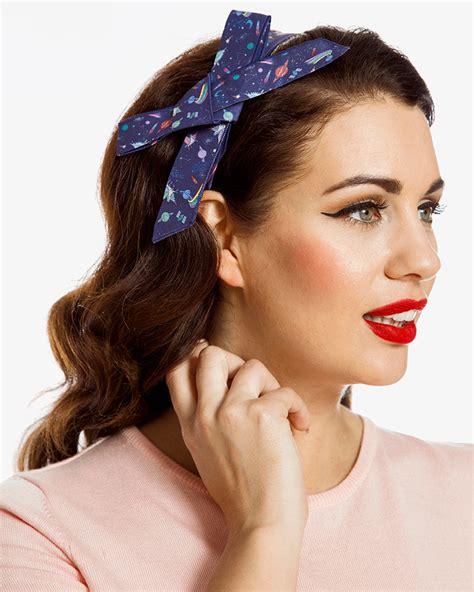 Headband Bow space unicorn print bow headband