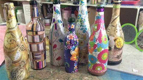 como decorar botellas de vino con flores decorando las botellas de vino con papel youtube