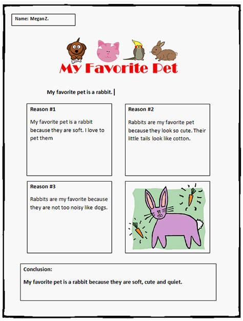 My Favorite Pet Essay by Opinion Writing Template My Favorite Pet K 5 Computer Lab