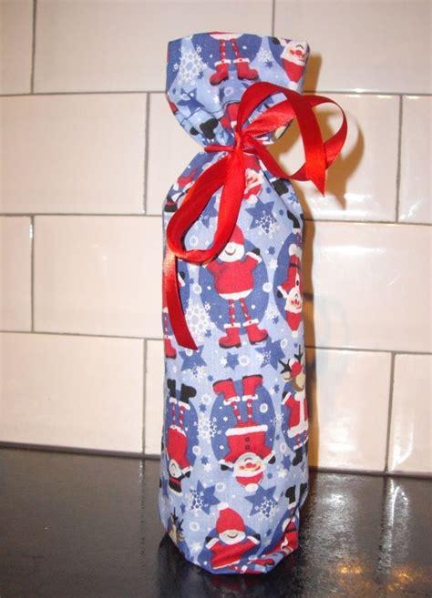 Santa Claus Wine Bag santa claus reindeer fabric bag wine blue