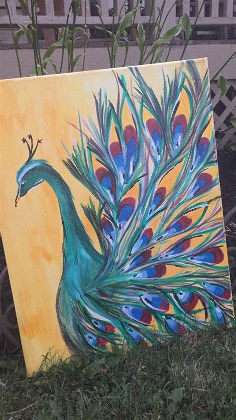 peacock painting  canvas easy acrylic handpainting